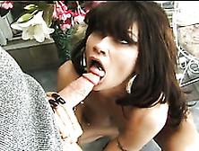 Sassy And Hot Brunette Babe Giving Amazing Blowjob