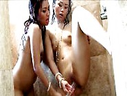 Hot Asian Lesbian Babes Toying In The Shower