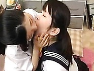 Two Asian Lesbian Schoolgirls Make Out Before They Go For P