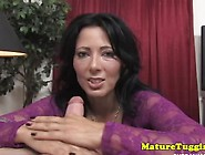 Handjob Cougar Working On Her Lovers Cock