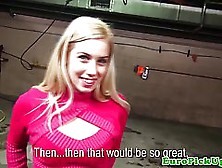 Slim,  European Blonde In Pink Outfit Is About To Get Naked And G