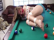 Sasha Fae Tied Up On Pool Table