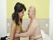 Mature Granny Bitch And Young Brunette Kissing And Ass Licking