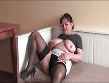 Big Belly Mature In Stockings Rubs Hairy Cunt