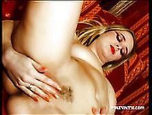 Provocative Blonde With Red Juicy Lips Jane Darling Masturbates