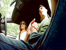 Ava Austen Strokes Hitchhiker Jordi's Massive Cock While Driving