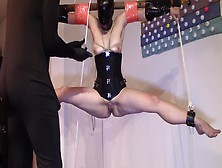 Slave Tied And Suspended Pussy Fist