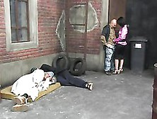 Sexy Babes Have Some Insane Orgy Sex In The Middle Of An Alleywa