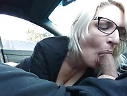 Cock Sucking Geek Girl Loves Getting A Big Mouthful In The Car