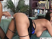 Glass Dildo Spreads Open Her Pussy Lips When It Is Inserted Insi