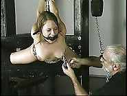 Old Fat Guy Binds And Suspends Cute Brunette With Small Tits In