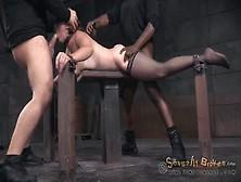 Spit Roasted Bondage Slave Used By Two Guys