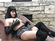 Hot Schoolgirl Enjoys Naughty Feel Of Soft Leather Gloves Agains