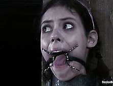 Skinny Gagged Slave Girl Kristine Kink With Chain Between Her Le