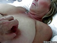 Big Boobed Grandma Rubs Her Old Clit