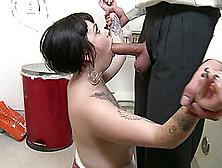A Businessman Fucks A Tattooed Rocker Chick In A Bathroom