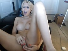 Delightful Short Haired Blonde Bitch Masturbates Solo With Her H