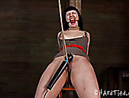 Tied Up Brunette With Gag In Her Mouth Hole Is Tied Up And Punis
