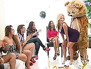 Male Stripper In A Bear Costumes Gets Blowjobs From Lots Of Ladi
