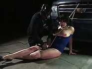 Chubby Brunette White Lady Bound And Duct Taped By Black Master