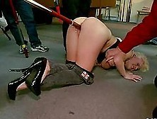 Big Breasted Blonde Gets Pounded In A Billiard Club