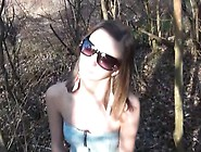 Skinny Teen Is Outside Bent Over Getting Her Tight Butthole Nail