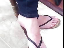 Candid Blonde Milf Sexy Feet And Painted Toes In Flip Flops