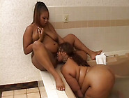 Huge Breasted Chubby Black Lesbians Enjoy Eating Twats In The Ba