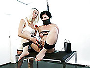 Blond Mistress Uses Electro Devices To Punish Brunette's Pussy