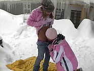 Two Teens Eating Pussy Outdoor In The Snow