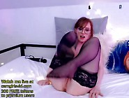 Young Redhead In Stockings Masturbates