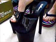 Hottie Puts High Heel Sandals On Her Lovely Feet With Red Nail P