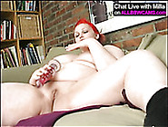 Red Haired Bbw Slut Stuffs Her Fat Pussy With Knobby Big Dildo