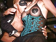 Masked Milf W Large Clit Cums Standing Up On Club Dancefloor
