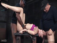 Girl Chained To The Table And Fucked By Her Masters