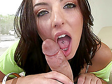 Green-Eyed Brunette With Pierced Tongue Nikki Lavay Blowjobs In