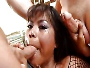 Nasty Asian Bitch Arcadia Gets Cum Covered By Dripping Cocks The