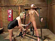Gorgeous Babe Fucked By Machine And Strapon In Lesbian Bdsm Sess