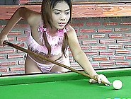 Glamorous Babe From Southeast Asia Goes Naughty On The Pool Tabl