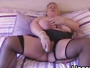 Fat Brit Wearing Lingerie With A Toy