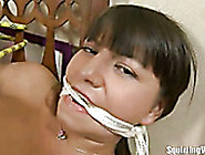Spoiled Black Haired Teen Is Fixed With Ropes And Gets Teased Wi