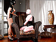 Topless Busty Chick In Mask Makes Pink Latex Lesbian Lick Her Mu