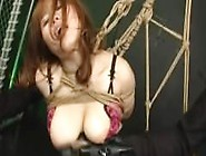 Japanese Sex Slave Suspended In Rope And Fucked By Femdom And Fe