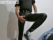 Horny And Farting In Shiny Wetlook Leggins Jeans & Converse