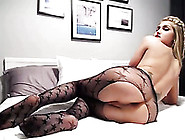 This Tranny Looks Hot In Her Crotchless Pantyhose And She Loves