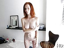 Redhead With Freckled Body Sucks A Huge Cock And Screws