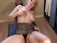 Sexy Blonde Milf's Huge Dildo Ride 'n Squirt