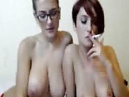 Two Busty Milfs Smoking & Kissing