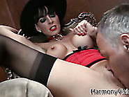 Zealous Brunette Milf With Fake Tits Gets Her Shaved Snapper Eat