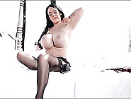 Babe With Giant Fake Tits Teases Her Sexy Stockings
